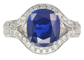 Amazing Vivid Natural Blue Sapphire 5.56 ct set in Classic Diamond Pave Ring - SOLD