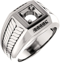 Fishtail Detail Accented Men's Ring Mounting for Round Shape Centergem Sized 2.00 mm to 6.00 mm - Customize Metal, Accents or Gem Type