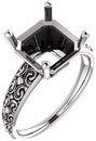 Asscher Sculptural Style Solitaire Ring Mounting for 5.00 mm - 10.00 mm Center - Customize Metal, Accents or Gem Type