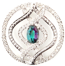 Mesmerizing Genuine Alexandrite Gemstone and Diamond Pendant With Curving Designs in 14k White Gold  - 0.56 carats, 6.47 x 4.68 mm