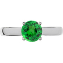 Sophisticated 4-Prong Round Solitaire Genuine 1 carat 6mm Tsavorite Garnet Engagement Ring - Diamond Accents at Base of Prongs