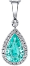 Breathtaking GIA Certified 3.26 carat Paraiba Tourmaline Gemstone Pendant in 18kt White Gold - 0.44 carat Diamond Halo
