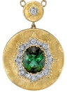 Amazing Italian-Made 18kt 2-Tone Gold Pendant With 5.8 carat Fine Gem Blue Green Tourmaline