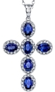 Elegant 18kt White Gold Cross Pendant With 6 Diamond Framed Oval Royal Blue Sapphire Gems