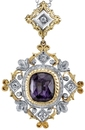 Intricate Regal 2-Tone 18kt Gold Hand Crafted Pendant With Fine 4.4 carat Purple Sapphire - Diamond Accents