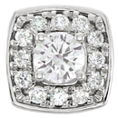 Glamorous 1/4ctw Diamond Cluster Peg Setting in 14kt White Gold With 12 Round Diamonds
