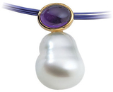 14KT White Gold 8x6mm 12mm South Sea Cultured Pearl Pendant