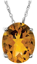 14KT White Gold 10x8mm Citrine Pendant