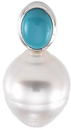 14KT Yellow Gold 8x6mm South Sea Cultured Pearl & Turquoise Pendant