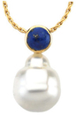 14KT White Gold 6mm Lapis & 12mm South Sea Cultured Pearl Pendant