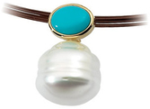 14KT Yellow Gold 8x6mm Turquoise & South Sea Cultured Pearl Pendant