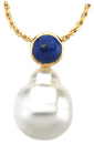 14KT Yellow Gold 6mm Lapis & 12mm South Sea Cultured Pearl Pendant