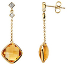 14KT Yellow Gold Citrine & .05 Carat Total Weight Diamond Earrings