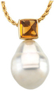 14KT White Gold 5mm Citrine & 11mm South Sea Cultured Circle Pearl Pendant