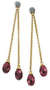 14KT Yellow Gold Brazilian Garnet & 1/8 Carat Total Weight Diamond Earrings