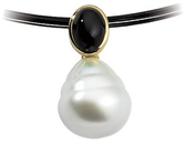14KT Yellow Gold 7X5mm Onyx & 11mm South Sea Cultured Circle Pearl Pendant