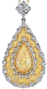 Stunning Hand Made 5.18 carat Australian Crystal Fire Opal Pendant - Diamond Accents