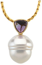 14KT Yellow Gold 6mm Amethyst & 12mm South Sea Cultured Pearl Pendant