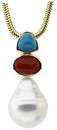 14KT Yellow Gold South Sea Cultured Pearl & Multi-Gemstone Pendant