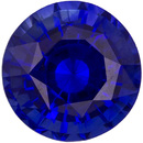 High Color Sapphire Loose Gemstone in Round Cut, Intense Rich Blue, 5.2 mm, 0.76 carats