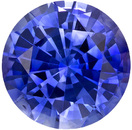 Very Sparkly Sapphire Loose Gemstone in Round Cut, Rich Vivid Blue, 6.7 mm, 1.45 carats