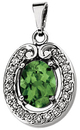 Genuine Green Tourmaline & Diamond Pendant