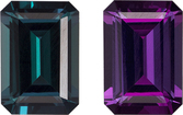 Color Change Loose Teal Blue Green to Eggplant Alexandrite from Brazil in Emerald Cut, 7 x 4.9 mm, 0.97 Carats - With Gubelin Certificate
