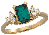 Chatham Created Emerald & Diamond Accented Ring