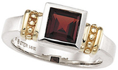 Sterling Silver & 14KT Yellow Gold Garnet Mozambique Ring