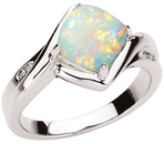 14KT White Gold Ring Mounting for Opal & Diamond