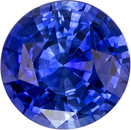 Loose Vibrant Blue Sapphire Natural Gemstone from Ceylon in Round Cut, 7.1 mm, 1.7 Carats