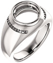 Accented Bezel Set Solitaire Men's Ring Mounting for Round Shape Centergem Sized 4.10 mm to 15.00 mm - Customize Metal, Accents or Gem Type
