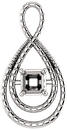 Bypass Accented Pendant Mounting for Asscher Centergem Sized 5.00 mm to 10.00 mm - Customize Metal, Accents or Gem Type