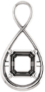 Criss Cross Soiltaire Pendant Mounting for Asscher Centergem Sized 5.00 mm to 10.00 mm - Customize Metal, Accents or Gem Type