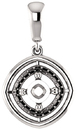 Solitaire Accented Pendant Mounting for Cushion Centergem Sized 5.00 mm to 15.00 mm - Customize Metal, Accents or Gem Type