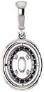 Solitaire Accented Pendant Mounting for Oval Centergem Sized 6.00 x 4.00 mm to 16.00 x 12.00 mm - Customize Metal, Accents or Gem Type