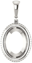 Bezel Set Soiltaire Pendant Mounting for Oval Centergem Sized 5.00 x 3.00 mm to 16.00 x 12.00 mm - Customize Metal, Accents or Gem Type