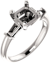 Gorgeous Asscher Gem Engagement Ring With Tapered Baguette Side Gems - For Shape Centergems Size 5.00 mm to 7.00 mm- Customize Metal, Accents or Gem Type