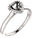 Heart Halo Style Engagement Ring Mounting for 5.00 mm - 10.00 mm Center - Customize Metal, Accents or Gem Type