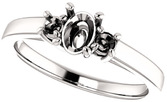 Oval 3-Stone Ring Mounting for Shape Centergems Sized 6.00 x 4.00 mm to 12.00 x 10.00 mm, Round Side Gems - Customize Metal, Accents or Gem Type
