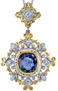 Intricate Detail 2-Tone 18 karat 2 Tone Gold Hand Crafted Pendant set with 3.38 carat Ceylon Blue Sapphire Gem - 0.30 cts Diamond Accents