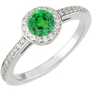 Traditional Pave Diamond Ring set with .25ct 4mm Round Cut Intense Electric Green Garnet for SALE