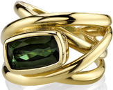 Modern Overlapping 4-Band 18kt Yellow Gold Ring With Bezel Set 2.93ct Cushion Green Tourmaline Gem