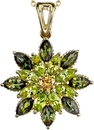 Gorgeous Colors in Flower Gemstone Pendant With Marquise Shape Peridot & Green Tourmaline Petals & Round Yellow Diamond Center