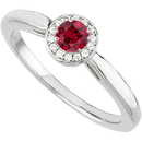 GEM Quality Affordable Genuine .4ct 4mm Ruby Gemstone set in Great Looking Diamond Ring for SALE