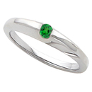 Stackable Band Ring With Gorgeous Round 4mm Tsavorite Garnet Gemstone Solitaire Center