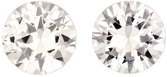 Very Beautiful Sapphire Well Matched Pair in Round Cut, Very White & Colorless, 6 mm, 1.91 Carats