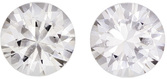 Colorless White Sapphire Pair in Round Cut, 5.9 mm, 1.83 Carats