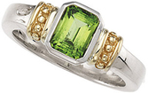 Peridot Granulated Design Ring