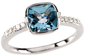 14KT White Gold Swiss Blue Topaz & 1/10 Carat Total Weight Diamond Ring